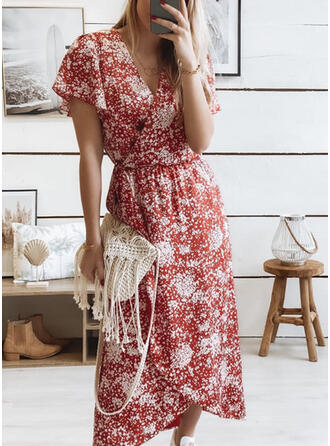 Print/Floral Short Sleeves Sheath Wrap Casual Midi Dresses
