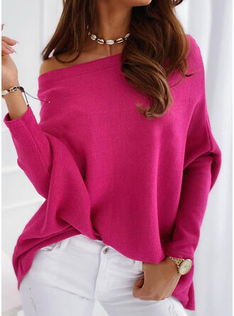Solid Knit Round Neck Long Sleeves T-shirts