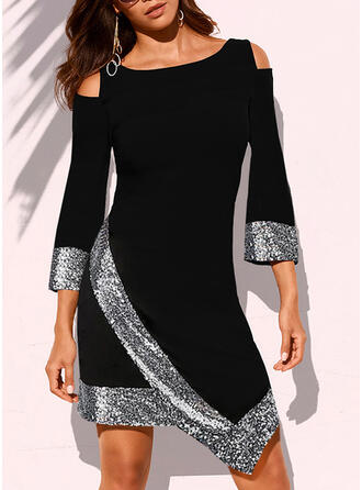 Sequins 3/4 Sleeves Sheath Above Knee Elegant Dresses