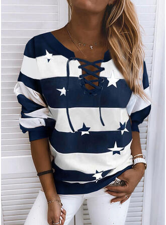 Print Color Block Round Neck Long Sleeves