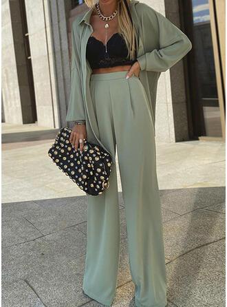 Einfarbig Lässige Kleidung Jahrgang Anzüge