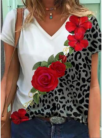 Blumen Leopard Druck V-Ausschnitt Kurze Ärmel T-Shirts