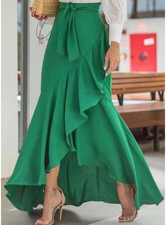 Polyester Einfarbig Bodenlang Ausgestellte Röcke