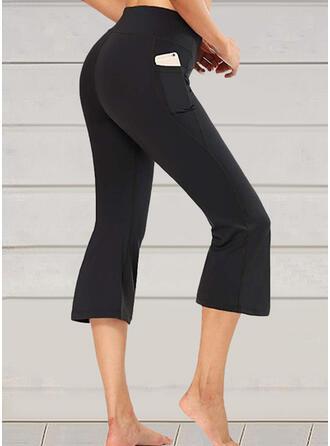 Solid Cotton Capris Sporty Plus Size Pocket Pants