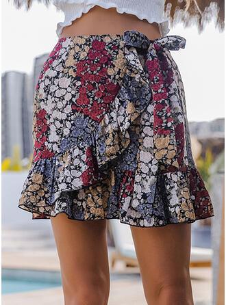 Polyester Drucken Blumen Über dem Knie Faltenröcke