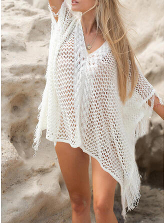 Gittergewebe U-Ausschnitt Lässige Kleidung Strandmode Bademode