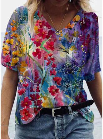 Drucken Blumen V-Ausschnitt Kurze Ärmel Freizeit T-shirts