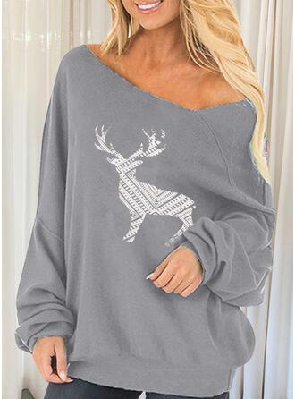 Print Deer Round Neck Long Sleeves Sweatshirt