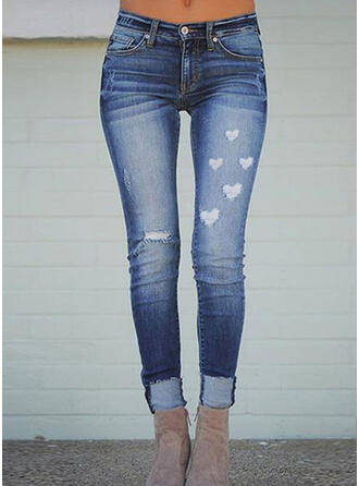 Druck Übergröße Zerrissen Elegant Dünn Denim Jeans