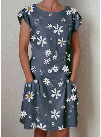 Druck/Blumen Kurze Ärmel Shift Knielang Freizeit Kleider