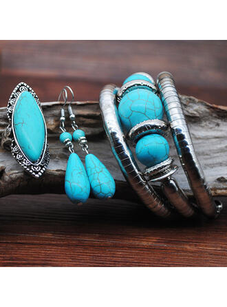 Exotic Boho Alloy Turquoise With Gem Jewelry Sets Earrings Bracelets Rings (Set of 3)