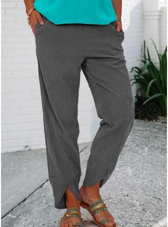 Solid Long Casual Vintage Plus Size Pocket Pants Lounge Pants
