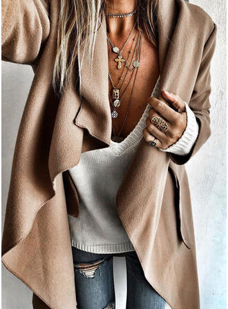 Knit Long Sleeves Solid Wide-Waisted Coats