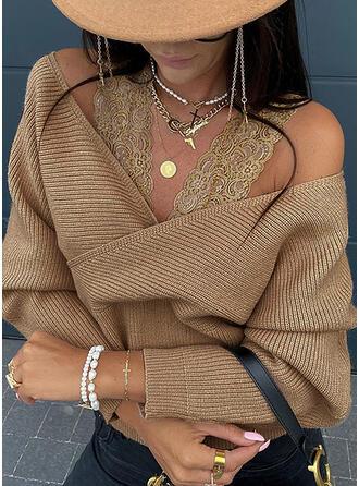 Einfarbig Spitze Kalte Schulter Sexy Pullover