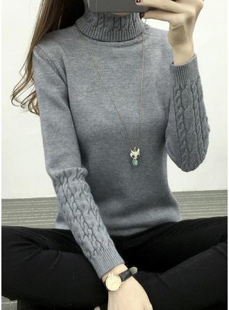 Einfarbig Grobstrick Rollkragen Pullover