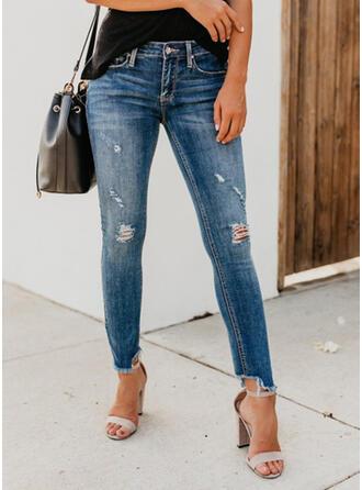 Taschen Shirred Zerrissen Beschnitten Sexy Dünn Denim Jeans
