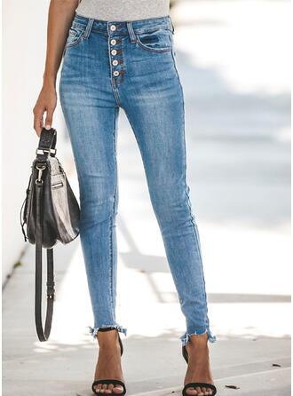 Taschen Shirred Lange Sexy Einfach Denim Jeans