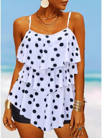 PolkaDot Strap U-Neck Casual Vacation Tankinis Swimsuits