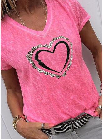 Herz Druck Pailletten V-Ausschnitt Kurze Ärmel T-Shirts