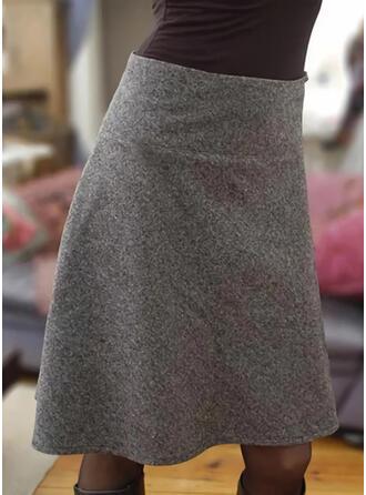 Baumwollmischungen Einfarbig Über dem Knie Bleistiftröcke