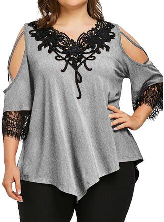 Einfarbig Spitze Kalte Schulter 3/4 Ärmel Freizeit Übergröße T-shirts