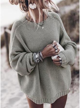Einfarbig Gerippt Grobstrick Rundhalsausschnitt Freizeit Pullover