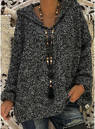 Einfarbig Mit Kapuze Pullover