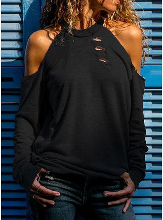 Einfarbig Kalte Schulter Lange Ärmel Freizeit T-shirts