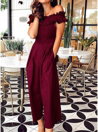Einfarbig Off-Schulter Kurze Ärmel Lässige Kleidung Elegant Overall