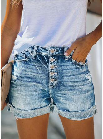 Taschen Shirred Übergröße Über dem Knie Lässige Kleidung Sexy Baumwollstoff Kurze Hose