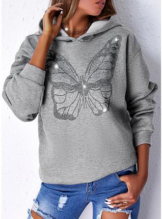 Print Butterfly Hooded Long Sleeves Hoodie