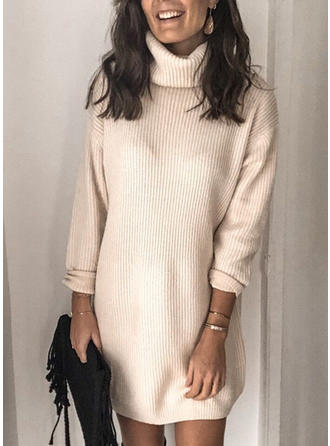 Einfarbig Rollkragen Pulloverkleid