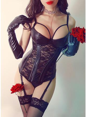 Polyester Chinlon Spitze Bestickt Blumen Mesh Bustier