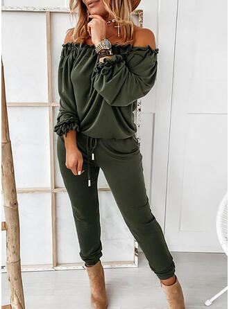 Solid Off the Shoulder Long Sleeves Casual Sexy Jumpsuit