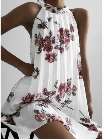 Druck/Blumen Ärmellos Shift Knielang Freizeit Kleider