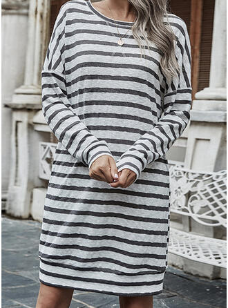Striped Long Sleeves Shift Above Knee Casual Tunic Dresses