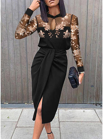 Floral Sequins Long Sleeves Sheath Knee Length Party/Elegant Dresses