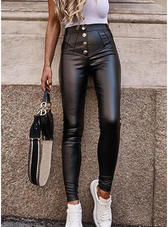 Einfarbig Shirred Elegant Sexy Leder Dehnbar Hosen