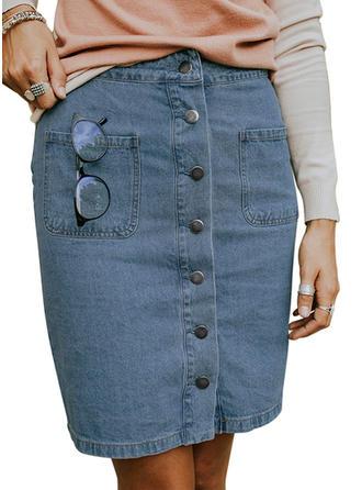 Baumwollstoff Einfarbig Knielänge Demin Röcke