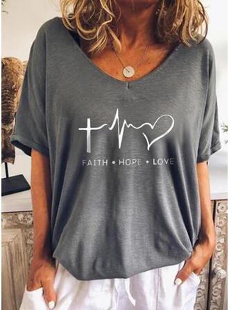 Herz Druck Buchstaben V-Ausschnitt 1/2 Ärmel T-Shirts