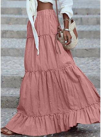Polyester Einfarbig Bodenlang A-Linie Röcke