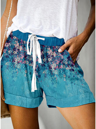 Floral Print Above Knee Casual Vacation Plus Size Pocket Drawstring Pants