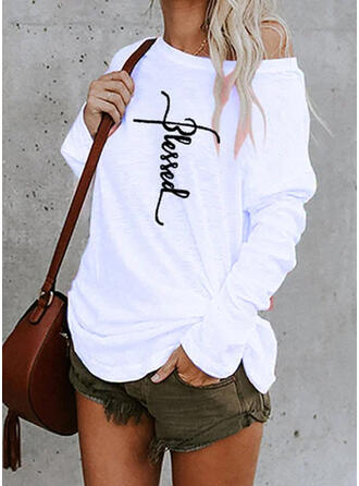Drucken Eine-Schulter Lange Ärmel Freizeit T-shirts