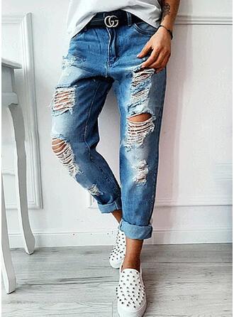 Solid Denim Cropped Plus Size Pocket Ripped Denim & Jeans