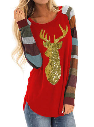Polyester Drucken Weihnachten Weihnachts-Sweatshirt