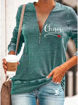 Print Heart Letter V-Neck Long Sleeves Sweatshirt