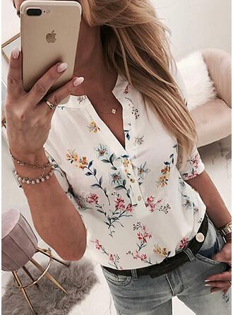 Drucken Blumen V-Ausschnitt Lange Ärmel Mit Knöpfen Freizeit Blusen