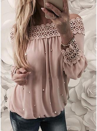 Einfarbig Spitze Off-Schulter Lange Ärmel Freizeit Elegant Blusen