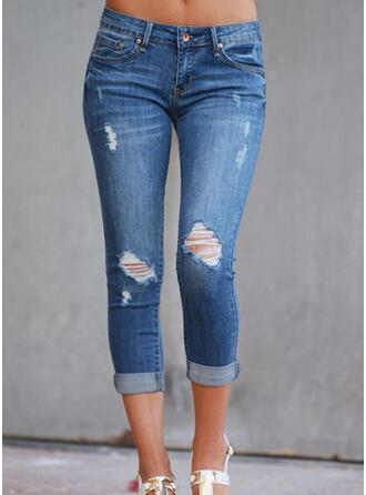 Capris Sexy Vintage Plus Size Pocket Shirred Ripped Pants Denim & Jeans