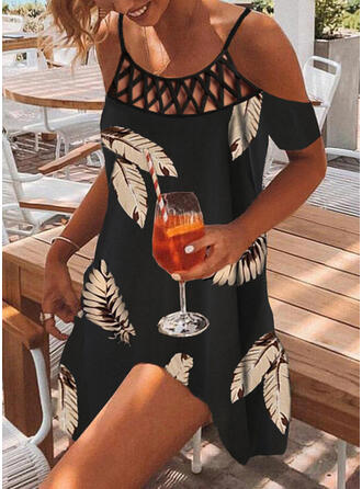 Print/Hollow-out Short Sleeves Shift Above Knee Casual/Vacation Tunic Dresses